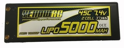 YellowRC LiPo 5000mAh 7,4V 2S35C w/4mm bullet 3in1 plug, YEL2652P - 2652P