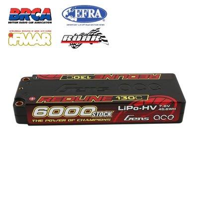 Gens ace Redline Series 6000mAh 7.6V 2S 130C HV LiPo (5mm, 276g)