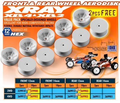 XRAY 4WD FRONT WHEEL AERODISK WITH 12MM HEX - WHITE (10) - 369902