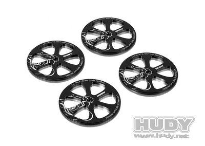 HUDY Alu Set-Up Wheel For 1/10 Rubber Tires (4) - 109370