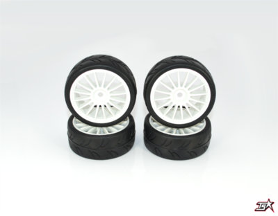 Ride 1/10 Slick Tires Precut 24mm Pre-glued with 16 Spoke Wheel White 4pcs - 24025PG